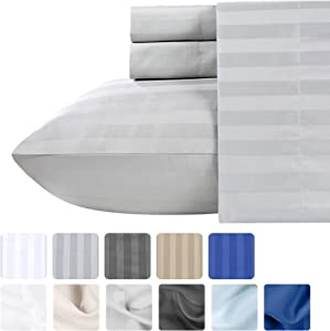 500 Thread Count Queen Sheet Sets - (4pc, Light Grey) - Long Staple Cotton With Woven Damask Stripe - Premium Quality and Deep Pocket Satin Bedsheets, Fits Upto Mattress 18'' Deep Pocket