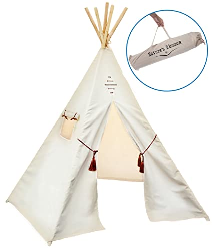 Kids Teepee Tent by Natureu0027s Blossom. Large 100% Cotton Canvas 6 Feet Tipi with  sc 1 st  Amazon.com & Amazon.com: Kids Teepee Tent by Natureu0027s Blossom. Large 100 ...