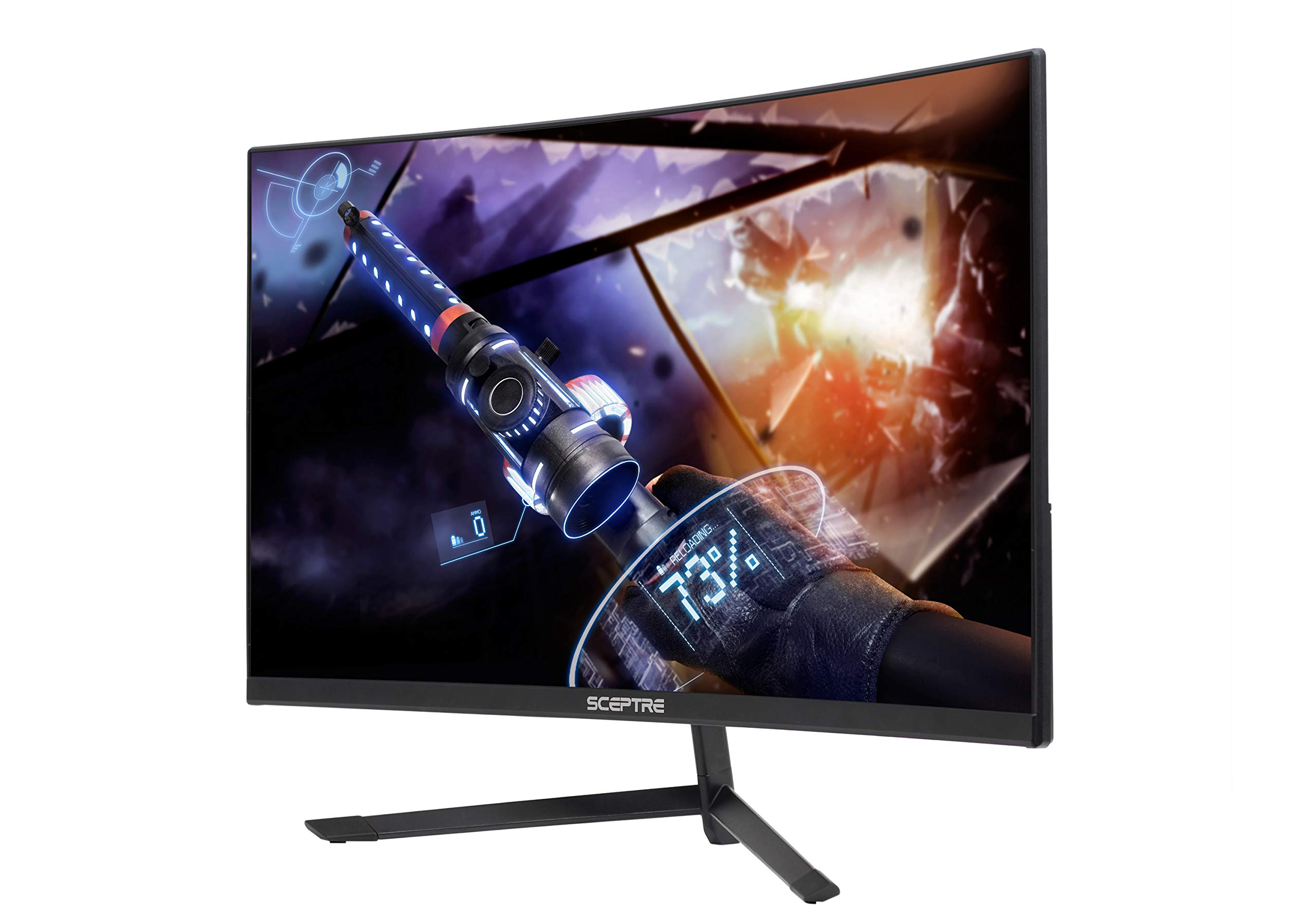 Sceptre 24'' Curved 144Hz Gaming LED Monitor Edge-Less AMD FreeSync DisplayPort HDMI, Metal Black 2019 (C248B-144RN) by Sceptre (Image #2)