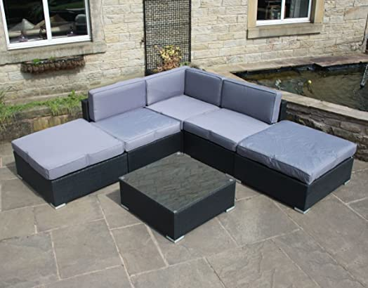 all weather rattan outdoor garden furniture corner sofa set in black