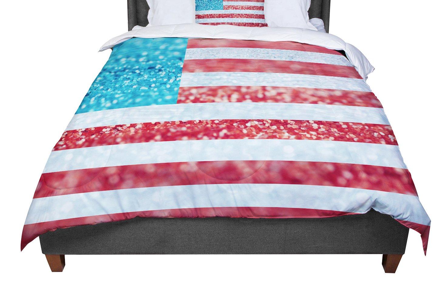 104 X 88 KESS InHouse Beth Engel Red White /& Glitter Flag King Cal King Comforter