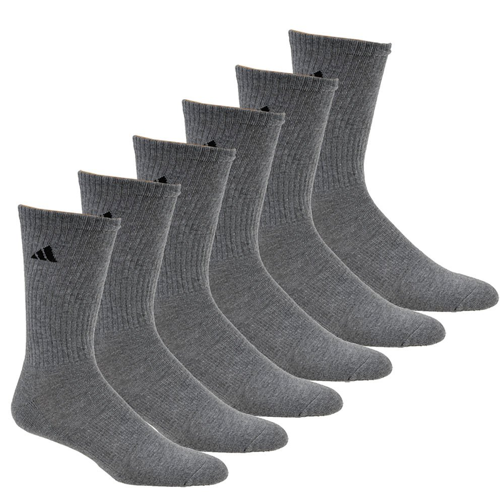 adidas Men's Athletic Cushioned Crew Socks (6-Pair), Heather Grey/Black, Large, (Shoe Size 6-12) by adidas