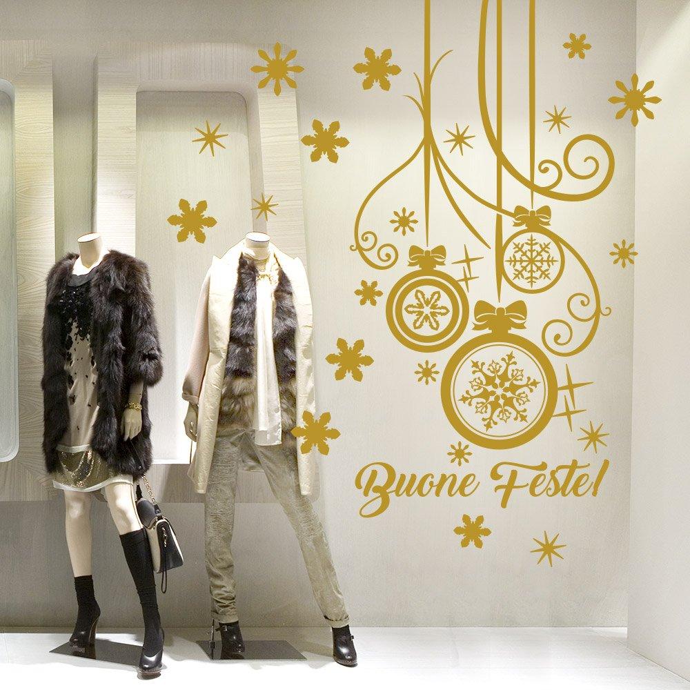 wall art NT0339 Pendente con fiocco - 60x120 cm - oro - Vetrofanie natalizie Decorazioni per Natale adesivi natale