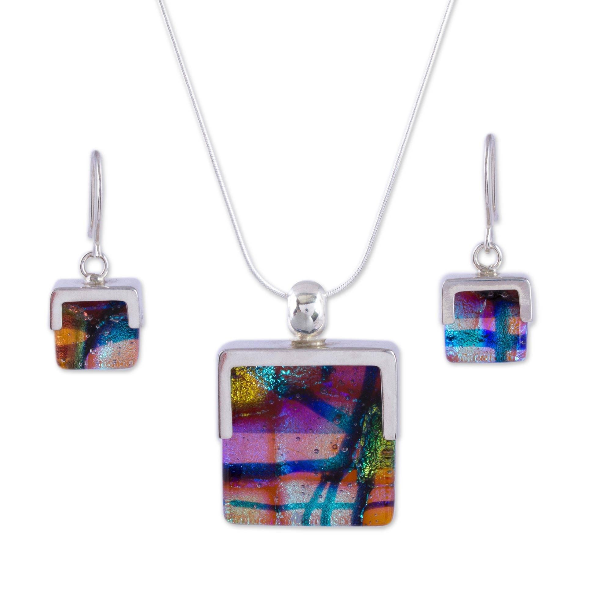 NOVICA .925 Sterling Silver Glass Jewelry Set 'Magic Mosaic'