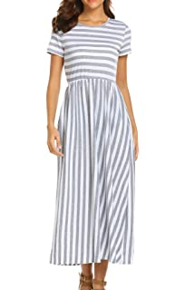 7181382b71b SimpleFun Women s Summer Casual Short Sleeve Round Neck Striped Maxi Dress  with Side Pockets