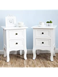 table for bedroom. 2 x White Nightstand Set Bedside End Table Pair Shabby Chick Bedroom  Furniture Nightstands Amazon com