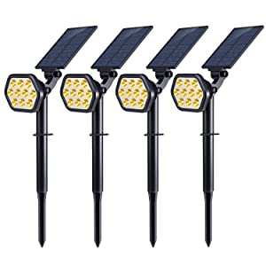 Nekteck 10 LED Solar Lights, Outdoor Landscape Spotlights Solar Powered Wall Lights 2-in-1 Wireless Adjustable Security Decoration Lighting for Yard Garden Walkway Porch Pool Driveway(4 Pack)