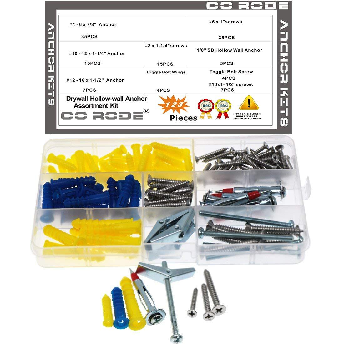 Drywall Anchors, CO RODE 123PCS Drywall Screws Self Drilling Hollow-Wall Anchor Molly Bolt Toggle Bolts Kit
