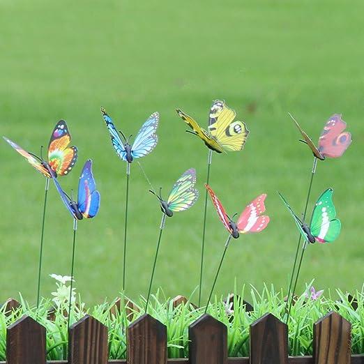 pannow 24pcs arreglo de Navidad al aire libre Patio vía de mariposa estacas maceta decoración suministros en forma de mariposa para fiestas en el jardín césped decorativo para jardín estacas: Amazon.es: Jardín
