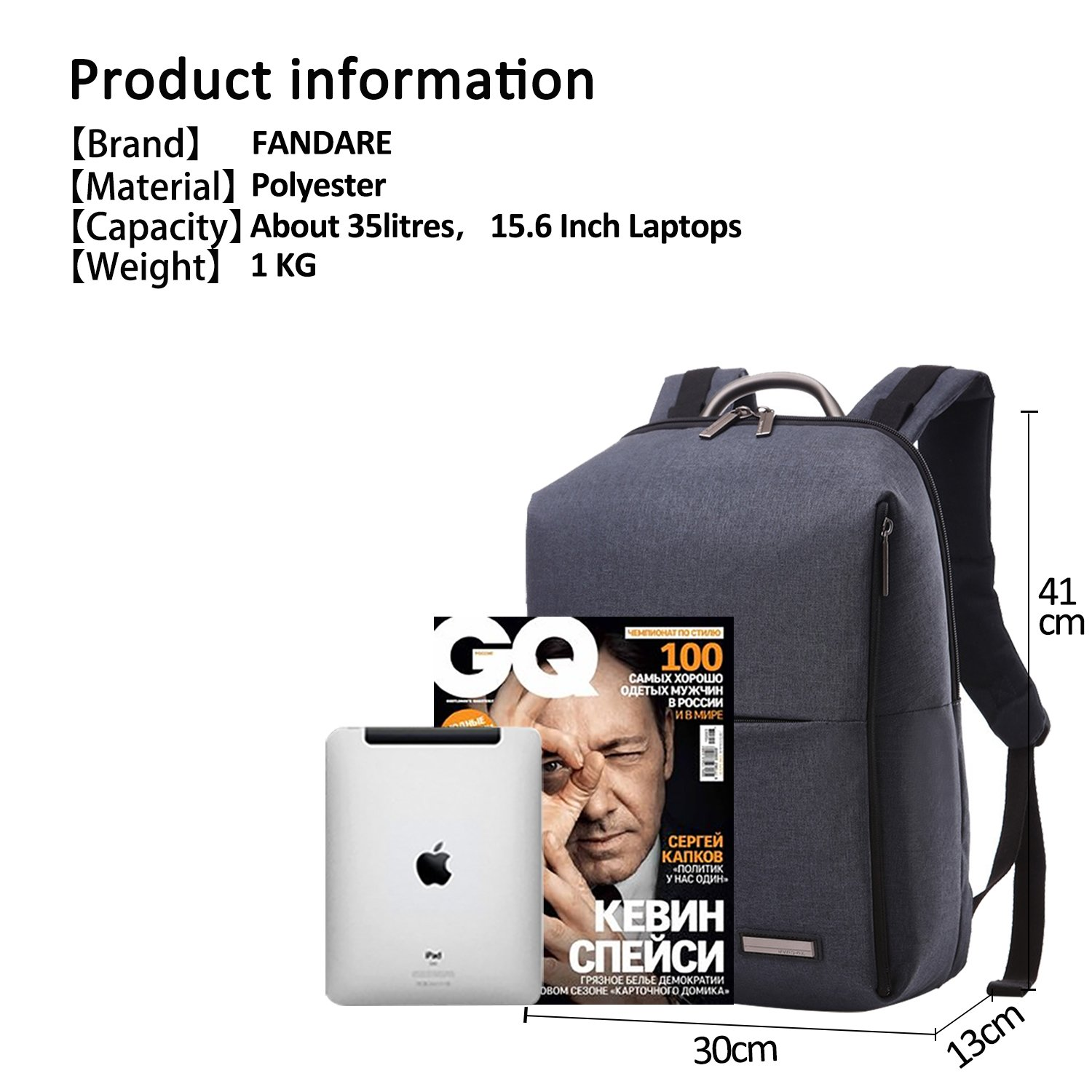 f4d1e02b400b Amazon.com: FANDARE Backpack 14.6 Inch Laptop Rucksack College ...