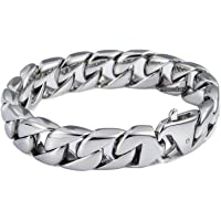 Moneekar Jewels 12mm Curb Cuban Link 316L Stainless Steel Bracelet for Men Boys