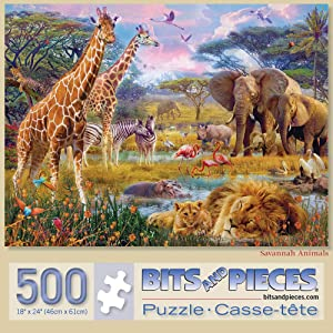 """Bits and Pieces - Savannah Animals 500 Piece Jigsaw Puzzles for Adults - Each Puzzle Measures 18"""" X 24"""" - 500 pc Jigsaws by Artist Jan Patrik"""