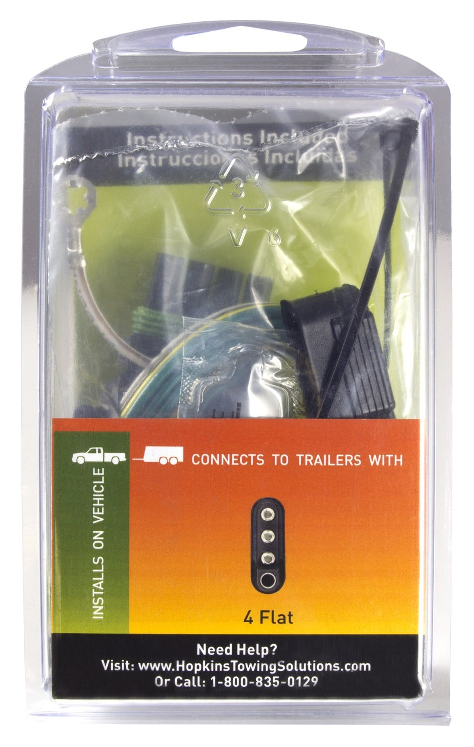 Hopkins 41125 Plug In Simple Vehicle Wiring Kit Automotive 4 Flat Trailer Diagram Direct