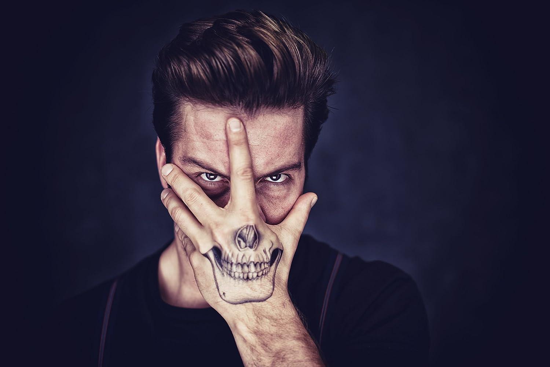 Adhesivo Crew® Halloween Tattoo Calavera Mano Tatuajes temporales ...