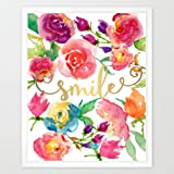 Eleville 8X10 Smile Real Gold Foil and Floral Watercolor Art Print(Unframed) Nursery Wall Art Home Decor New baby gift Motivational Art Inspirational Print Birthday Wedding Gift Quote Print WG093