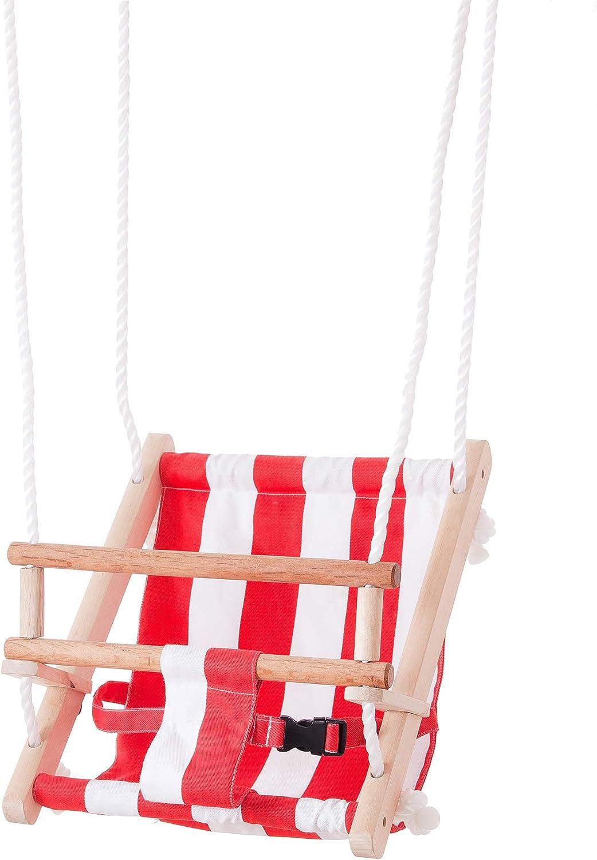 John- Babyschaukel Rot weiß Gestreift Columpio Infantil para bebé, Color Rayas en Rojo y Blanco. (45009)