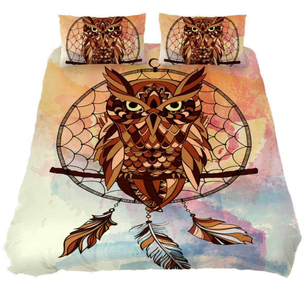 jessgirl Tribal Dream Catche with Owl 3D Printed Elegant Modern California King Size Bedroom 3 Piece Bedding Sets