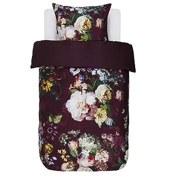 Essenza Bettwäsche Fleur Burgundy Blumen Blüten Satin 155x220 Cm