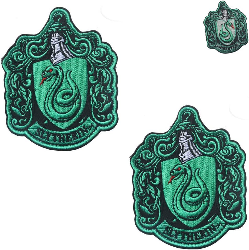 Harry Potter Slytherin Patch Hogwarts Crest House Embroidered Iron On Applique