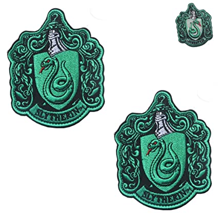 3b2e18109d0 Image Unavailable. Image not available for. Color  2PCS Harry Potter House  of Slytherin Hogwarts Crest ...