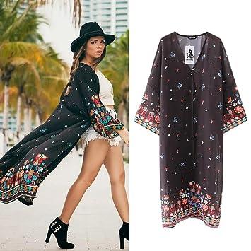 eb535e08751a4 Women Long Chiffon Beach Blouses Cardigan Summer Kimono Bikini Cover up  Swimwear Kaftan Beachwear Plus Size