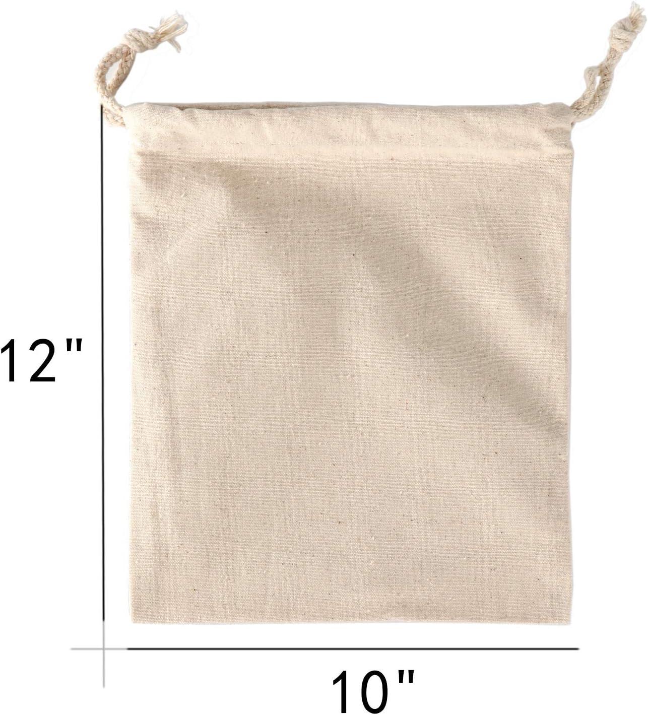 panes regalos de fiesta 12 paquetes de bolsas de almacenamiento reutilizables de algod/ón de muselina ecol/ógicas con cord/ón para verduras fritas 20x25cm