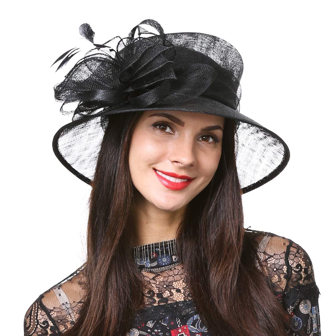 HISSHE Women's Derby Church Dress Weddding Bridal Fascinator 1920s Sinamay Bucket Hat (Black)