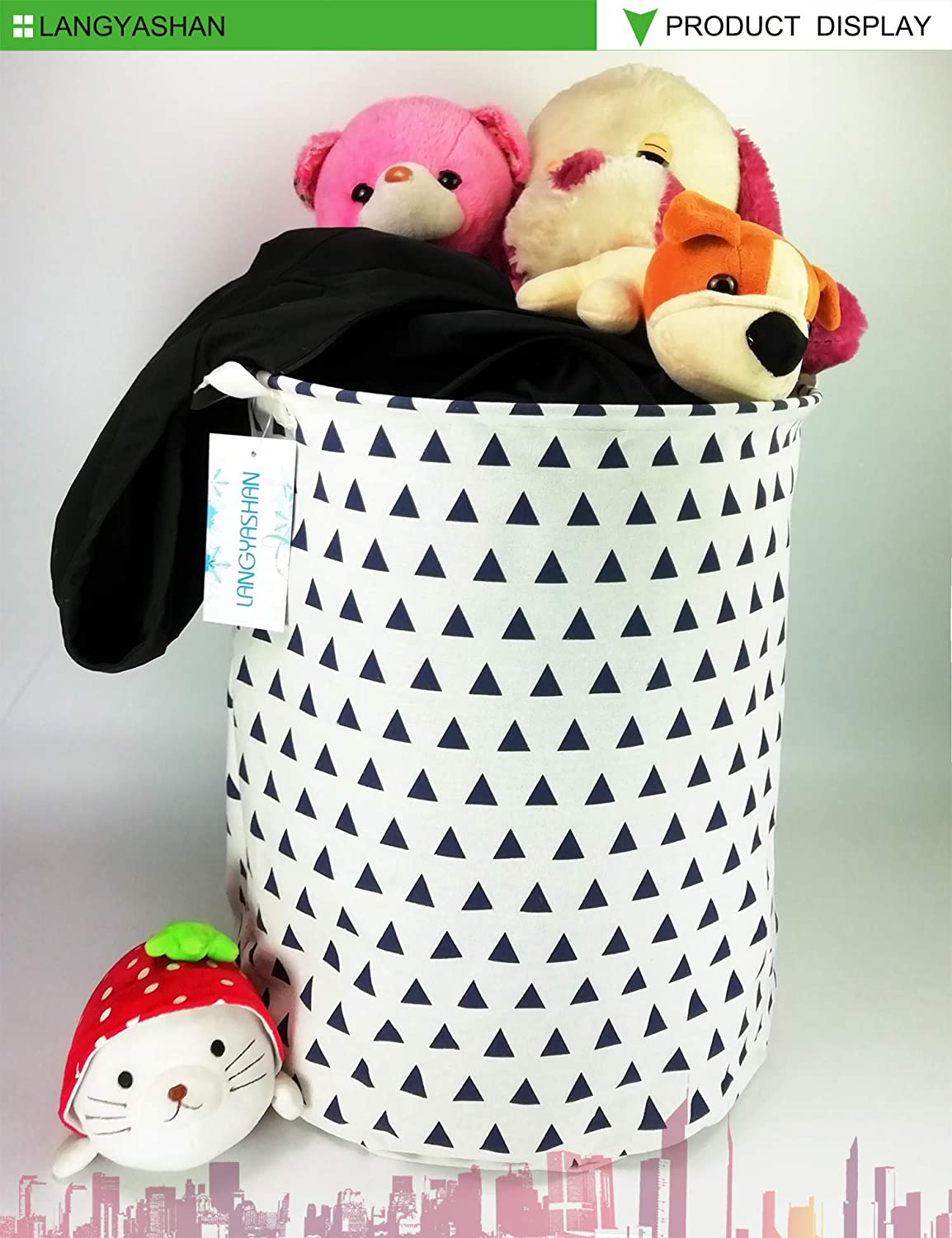 Squint Unicorn Bedroom LANGYASHAN Storage Bin,Canvas Fabric Collapsible Organizer Basket for Laundry Hamper,Toy Bins,Gift Baskets Clothes,Baby Nursery
