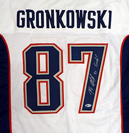 New England Patriots Rob Gronkowski Autographed White Jersey  quot Gronk! 64506ac8d