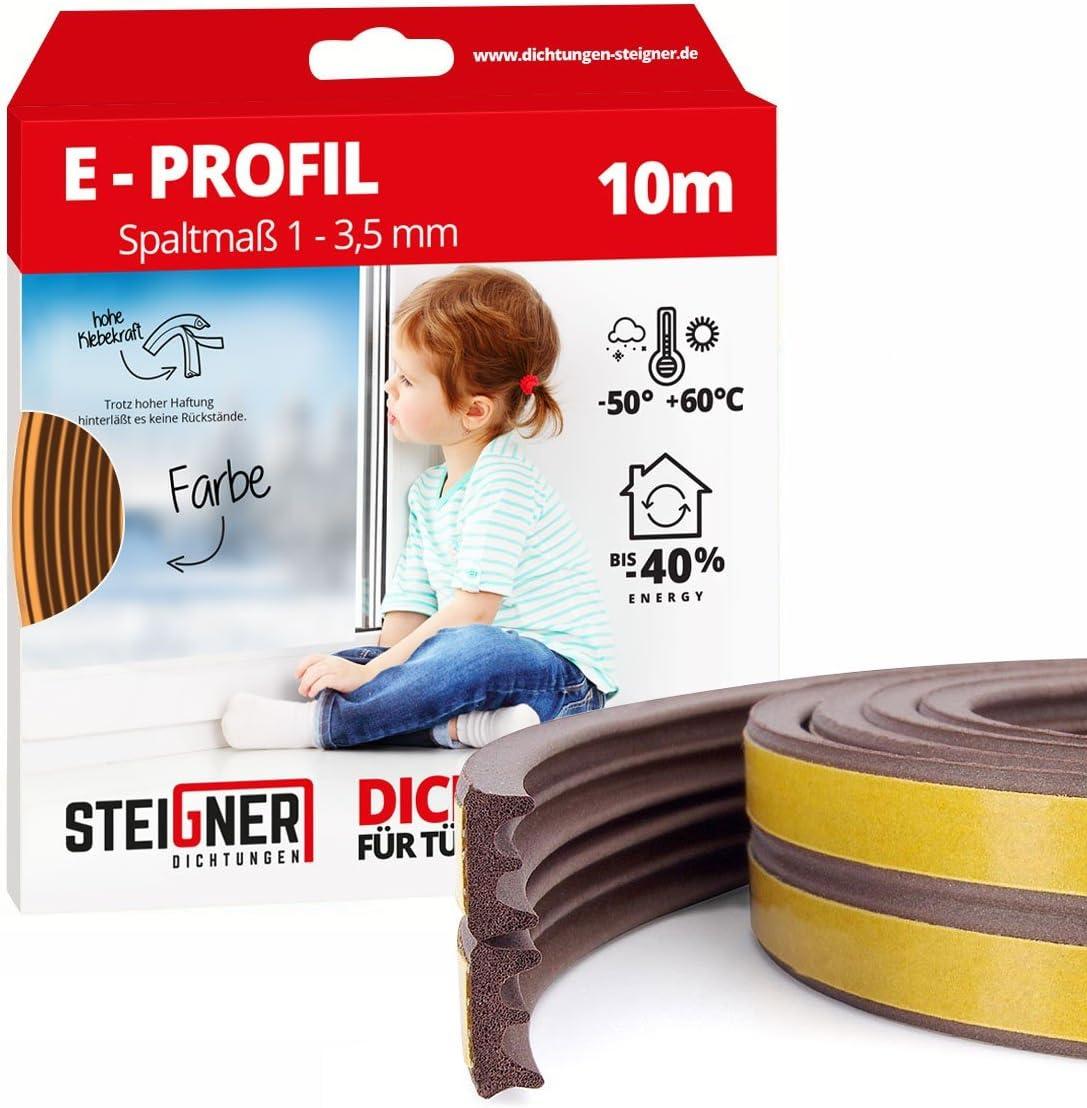 STEIGNER 50 m Joint de Fen/être Autocollant Profil E Marron Joint en Caoutchouc EPDM Joint d/Étanch/éit/é