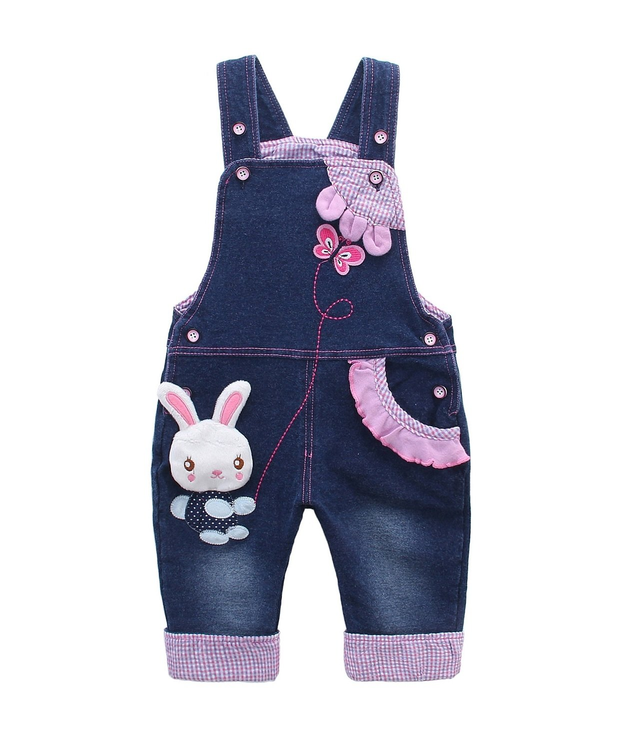 DEBAIJIA Baby Girls Overall Jeans Children Bib Denim Dungarees Bunny Butterfly
