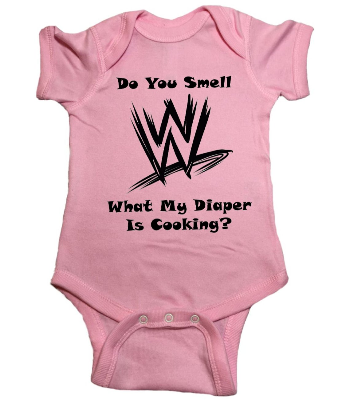 WWE Baby One Piece ''Do You Smell What My Diaper Is Cooking?'' (6 Month, Pink)