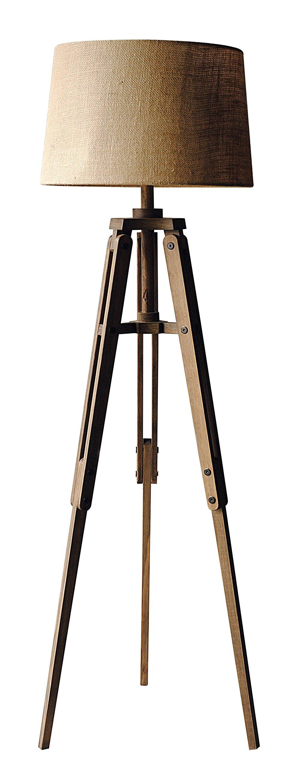 Creative Co-Op Mariner Wood Tripod Floor Lamp with Shade, 62.25'' Height