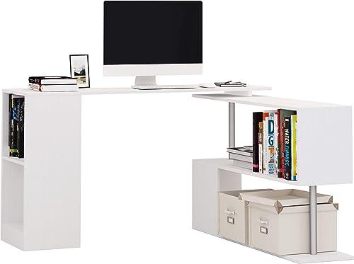 HOMCOM 55″ 360 Rotating Corner Computer Desk Modern L-Shaped Home Office Workstation