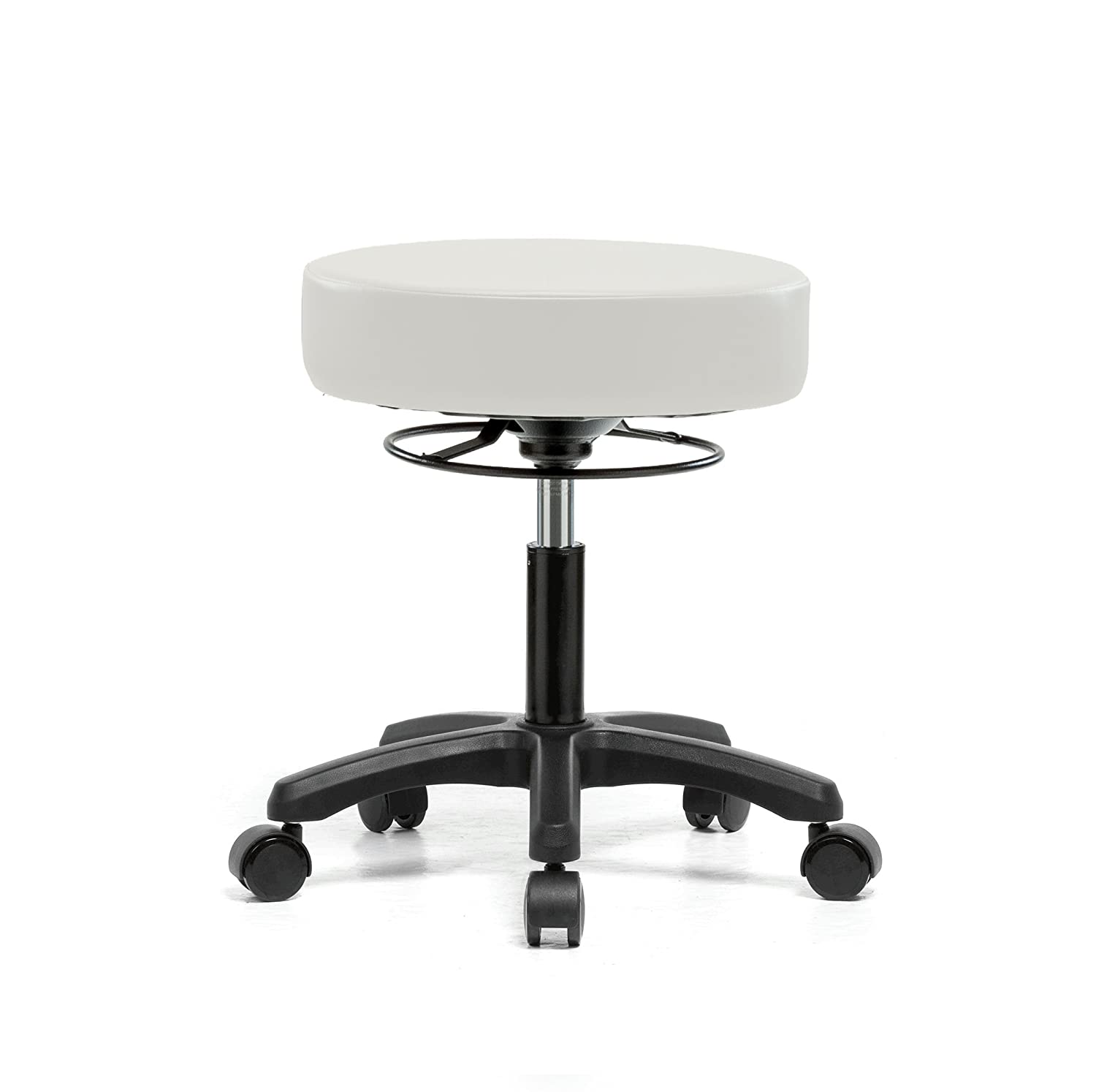 Perch Life Rolling Pneumatic Adjustable Stool For Lab Medical Office Spa Salon Kitchen Garage 18 - 23 (Soft Floor Casters/Adobe White Vinyl) Perch Chairs & Stools