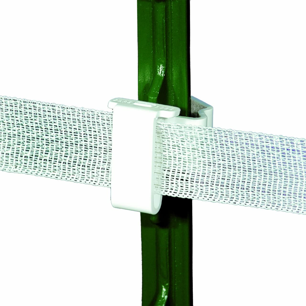 Powerfields TP-25-W T-Post Polytape Insulator for up to 2-Inch, 25-Pack, White