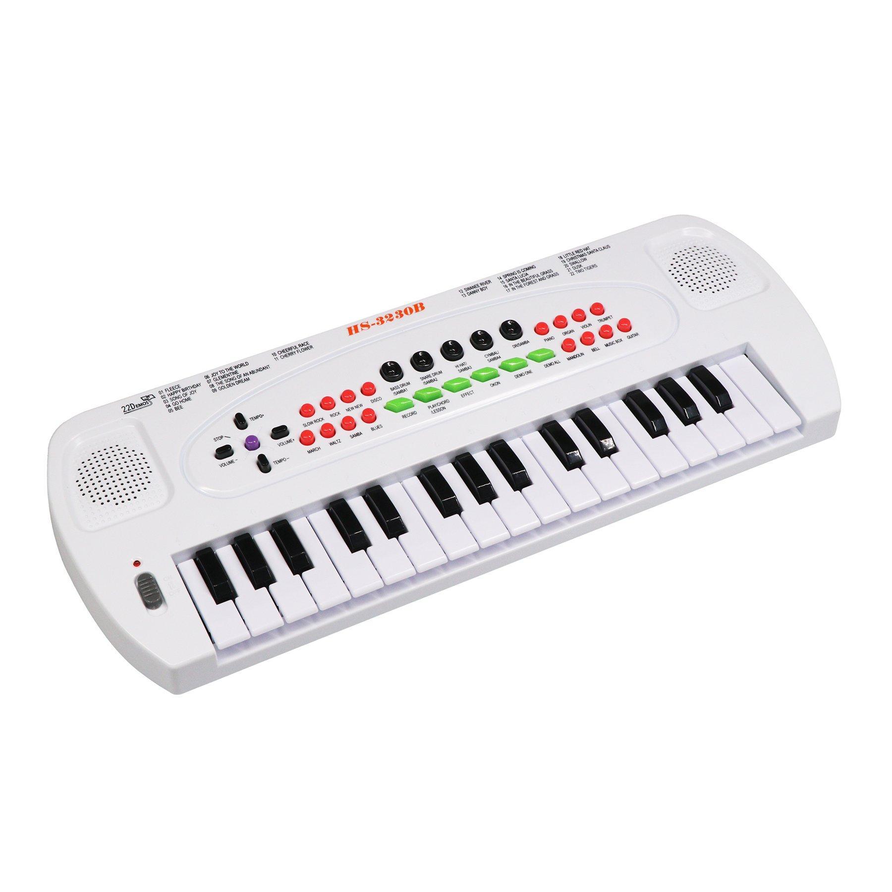 aPerfectLife Piano Kids, 32 Keys Multifunction Electronic Kids Piano Keyboard Musical Instrument Kids Microphone (White)