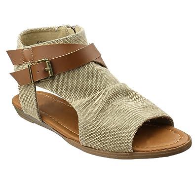 98ec6709c886 BESTON AF85 Women s Criss Cross Backless Cutout Summer Sandals One Size  Small