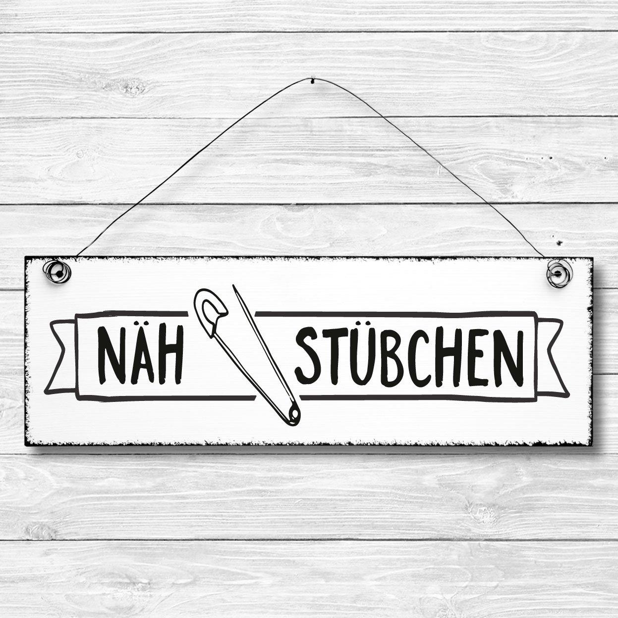 Nähstübchen - Türschild Dekoschild Wandschild Holz Deko Schild 10x30cm Holzdeko Holzbild Deko Schild Geschenk Mitbringsel Badezimmer nähen