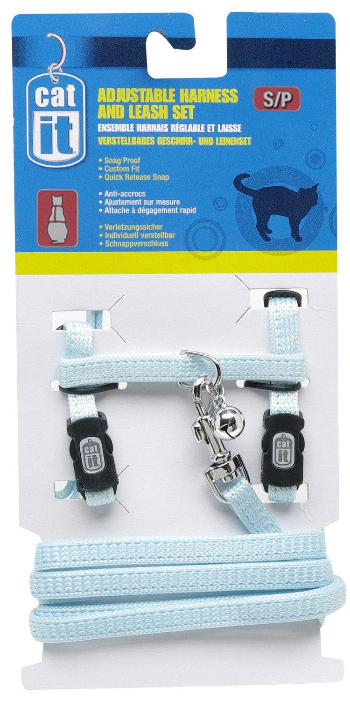 Catit Nylon Adjustable Cat Harness and Leash Set, Small, Blue 55364