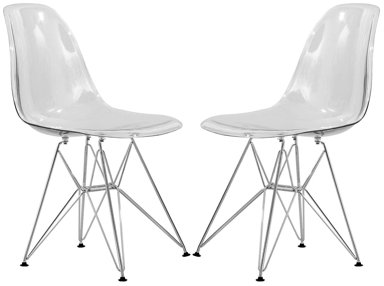 LeisureMod Carey Modern Eiffel Base Molded Side Chair Set of 2 (Clear)