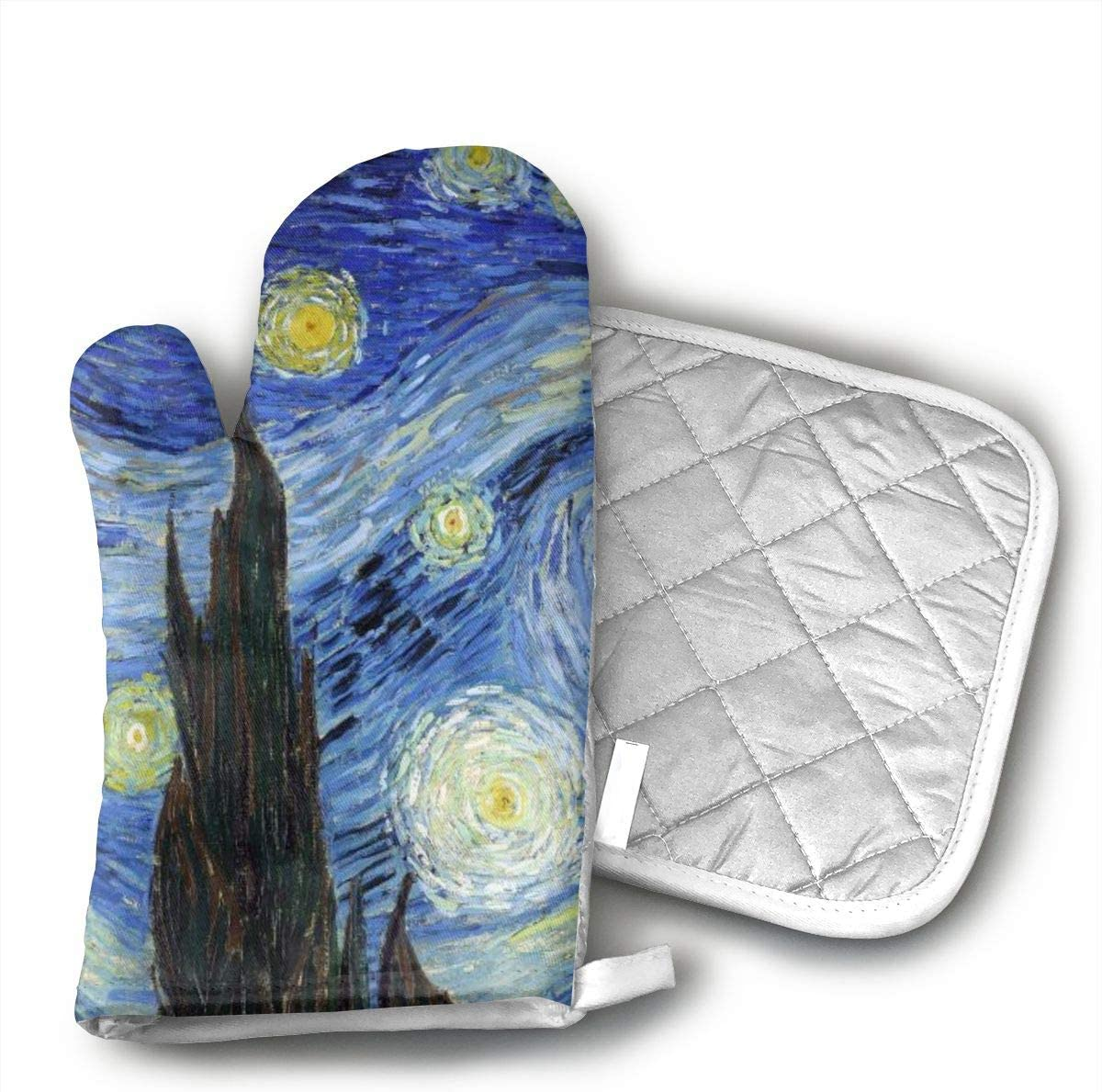 Van Gogh Starry Night Oven Mitts & Heat Resistant Pot Holder - with Polyester Cotton Non-Slip Grip, Best Used As Baking, Grilling, BBQ, Cooking, Kitchen Or Oven Gloves