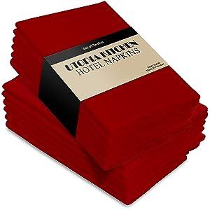 Utopia Kitchen Cloth Napkins, 12 Pack (18 x 18 Inches), Red Cotton Dinner Napkin