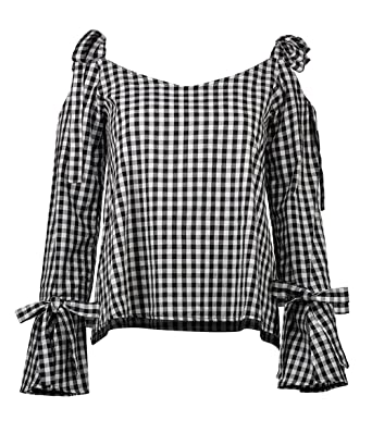 375653e4293780 Yimoon Women s Summer Casual Plaid Gingham Cold Shoulder Shirt Bell Sleeve  Tie Cuff Bow Tops (
