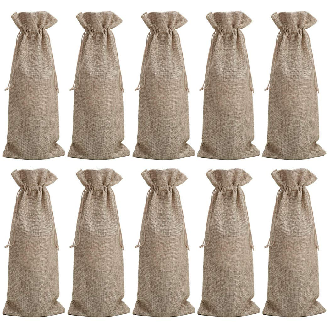 Faylapa 10 Piezas de Bolsas de Vino de Yute, Bolsas de Vino de arpillera con cordón, 14.2x5.9 Pulgadas: Amazon.es: Hogar