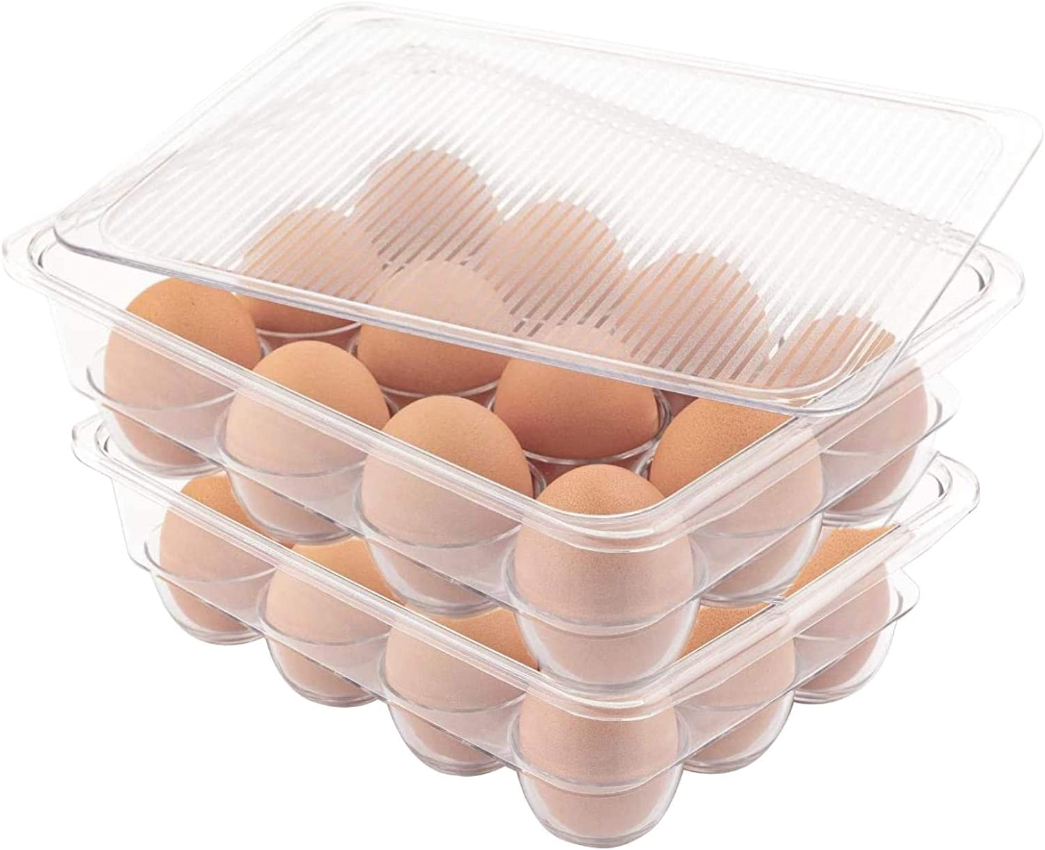Set of 2 (12 Eggs/Each) - JinaMart Fridge Bin BPA-Free Plastic Stackable Egg Holder with Lid for Refrigerator | Deviled Egg Storage Tray/Drawer for Fridge, Kitchen and Tableware (Egg Holder)