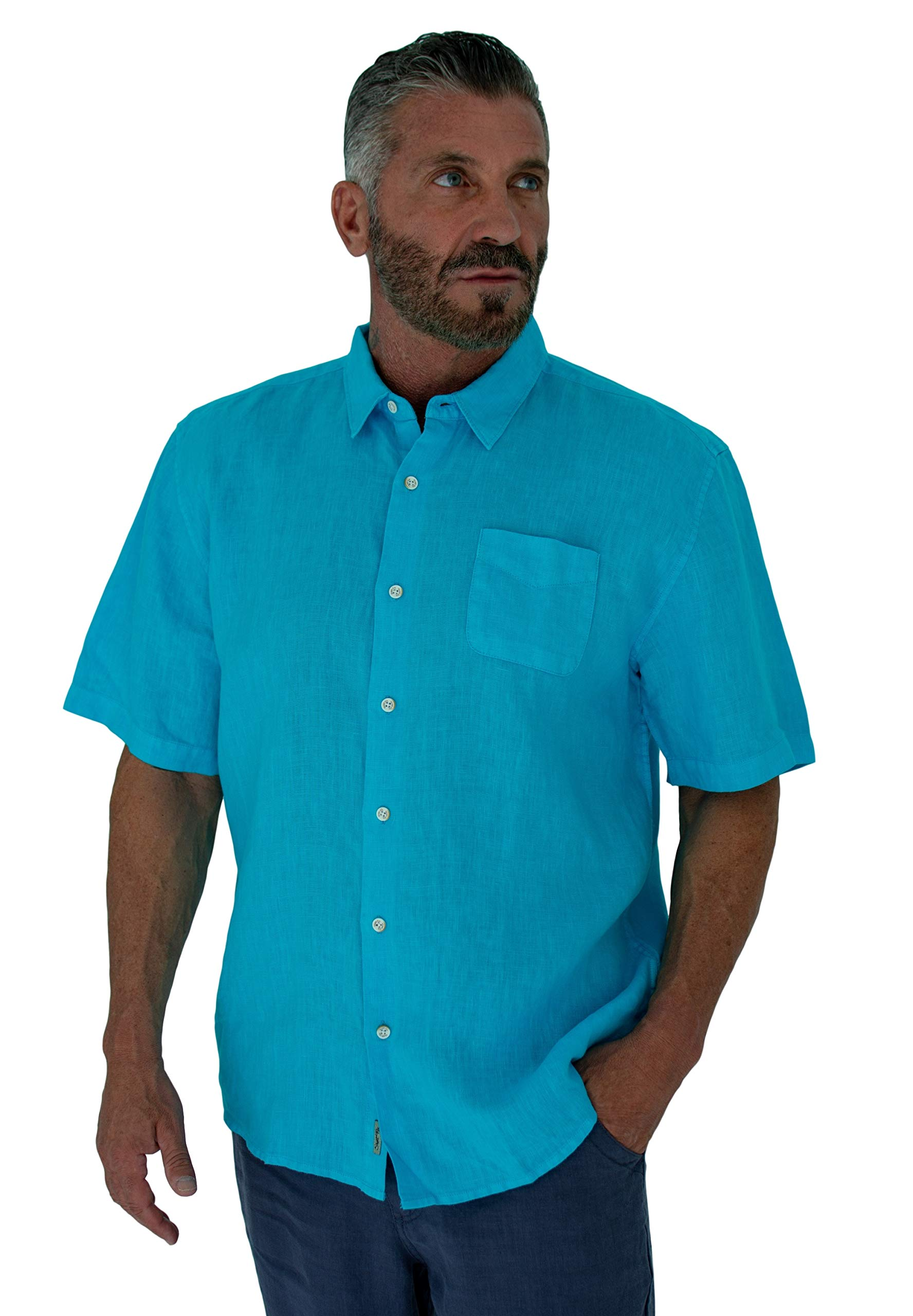 Short Fin Short Sleeve Button Down Linen Shirt (Size X Large, Neon Blue L8040L) by Short Fin (Image #2)