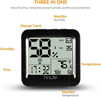WiFi Digital Indoor Hygrometer Thermometer Fesjoy Temperature Humidity Monitors Mini Temperature and Humidity Sensor Wireless Indoor Climate Drying Monitoring Device