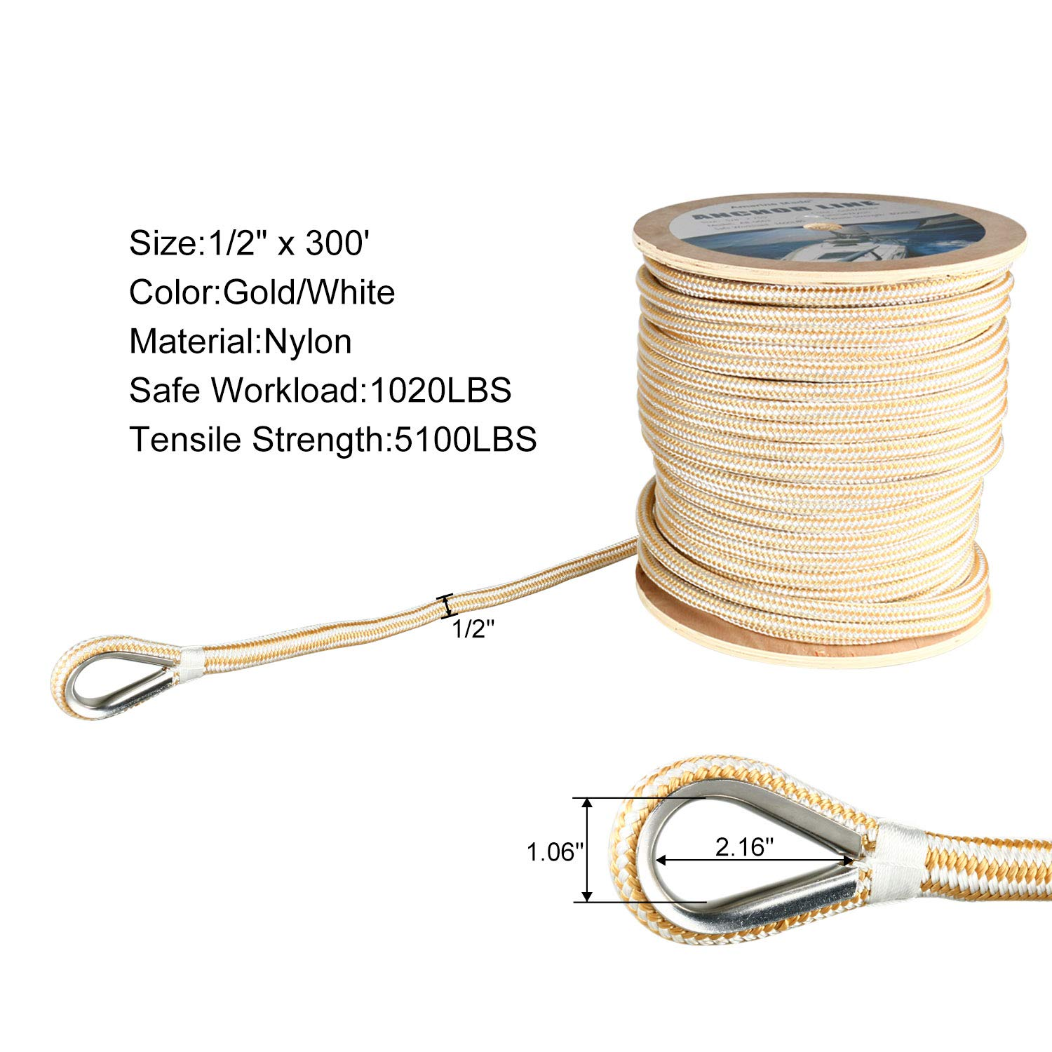 Amarine Made Heavy Duty Double Braid Nylon Anchor Line with Stainless Steel Thimble-White/Gold (1/2'' x 300')