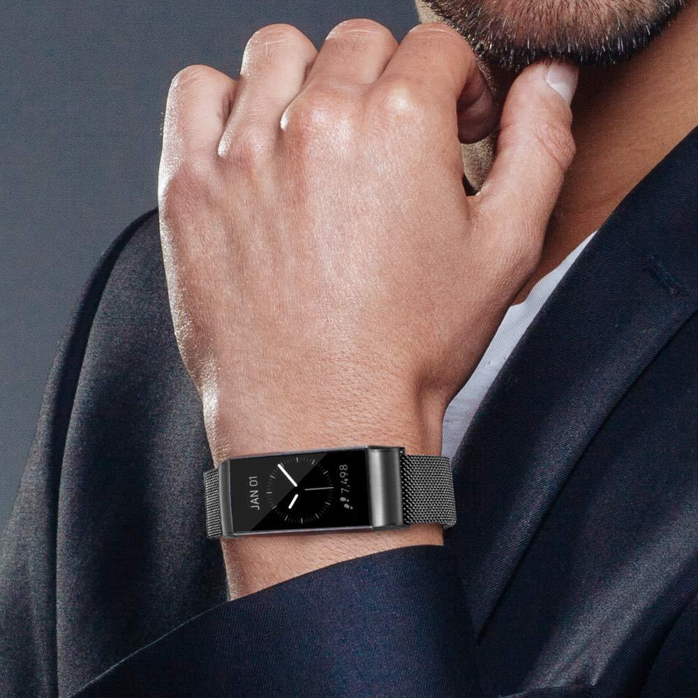Correa Pulsera de Correa de Acero Inoxidable Milanesa para Mujer y Hombre AK Correa Compatible para Fitbit Charge 3 Correa Sport Ajustable de Metal